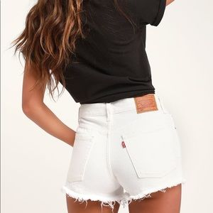 Levis High Rise White Distressed Jean Cutoff Short